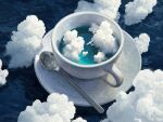 aircraft airplane artist_name blue_theme clouds commentary cup english_commentary no_humans ocean original oversized_object rhads scenery signature spoon surreal teacup very_wide_shot waves