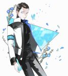 1boy android arm_at_side artist_name black_hair black_pants black_shirt blue_butterfly blue_eyes blue_flower connor_(detroit) detroit:_become_human flower jacket looking_at_viewer male_focus pale_skin pants petals shirt simple_background solo yukowa_(kari)