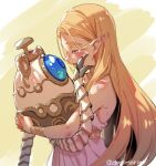 1girl bare_shoulders blonde_hair blush bracelet closed_eyes comforting commentary_request crying dress guardian_(breath_of_the_wild) highres holding hug hyrule_warriors:_age_of_calamity jewelry long_hair necklace open_mouth pointy_ears princess_zelda robot shuri_(84k) simple_background smile tears the_legend_of_zelda the_legend_of_zelda:_breath_of_the_wild twitter_username very_long_hair white_dress wiping_tears