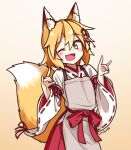 1girl ;d animal_ear_fluff animal_ears apron artist_name bangs blonde_hair blush commentary double_fox_shadow_puppet eyebrows_visible_through_hair fang flower fox_ears fox_girl fox_shadow_puppet fox_tail gradient gradient_background hair_between_eyes hair_flower hair_ornament japanese_clothes lirilias miko one_eye_closed open_mouth ribbon-trimmed_sleeves ribbon_trim senko_(sewayaki_kitsune_no_senko-san) sewayaki_kitsune_no_senko-san short_hair simple_background skin_fang smile solo tail wide_sleeves yellow_eyes