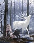 1girl absurdres against_tree animal antlers arknights bangs bare_arms bare_shoulders black_footwear black_gloves black_legwear blood blood_on_face bloody_clothes breasts clothes_writing day deer dress firewatch_(arknights) firewatch_(wilted_cypress)_(arknights) forest full_body gloves green_eyes highres huge_filesize long_hair looking_at_viewer nature outdoors reclining shoes short_dress silver_hair sleeveless sleeveless_dress small_breasts snow thigh-highs tree white_dress winter zheshe_jing
