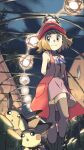 1girl arms_behind_back bamboo bangs bare_arms blue_ribbon case-k closed_mouth clouds commentary_request dress gen_1_pokemon gen_2_pokemon grey_eyes grey_legwear hat highres light_brown_hair looking_to_the_side night outdoors pichu pikachu pokemon pokemon_(anime) pokemon_(creature) pokemon_xy_(anime) red_headwear ribbon serena_(pokemon) short_hair sky sleeveless_duster smile standing thigh-highs