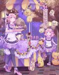 2girls :o ankle_garter apron black_legwear bow candy cart commentary demon_girl demon_horns demon_tail demon_wings dress flower food ghost hair_rings halloween halloween_bucket hamkuti high_heels highres holding holding_tray horns jack-o'-lantern lamppost lantern lollipop looking_at_viewer looking_to_the_side multiple_girls night open_mouth original outdoors pantyhose pink_eyes pink_footwear pink_hair pointy_ears purple_dress see-through_dress sett shirt_under_dress shoes short_hair siblings sisters sky sparkle standing standing_on_one_leg star_(sky) starry_sky swirl_lollipop tail tail_bow tail_ornament thigh-highs tray tree umbrella vending_cart walking wing_bow wings