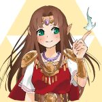 1girl alternate_color aqua_eyes armor bead_necklace beads bracer brown_hair circlet closed_mouth eyebrows_visible_through_hair gem hair_intakes hand_up index_finger_raised jewelry long_hair necklace nishikuromori pointy_ears princess princess_zelda short_sleeves shoulder_armor smile solo straight_hair super_smash_bros. the_legend_of_zelda the_legend_of_zelda:_a_link_between_worlds triforce upper_body