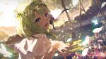 1girl :d aria_project_2.0 backlighting black_bow black_ribbon blonde_hair bow check_commentary chromatic_aberration commentary_request day dress dutch_angle elf flower from_behind glint grass green_eyes hair_bow hair_flower hair_ornament hair_ribbon head_wreath highres lens_flare looking_at_viewer looking_back medium_hair narumi_nanami open_mouth outdoors outstretched_hand petals pointy_ears ribbon senjou_aria short_sleeves sidelocks smile solo sundress tree upper_body virtual_youtuber white_dress yoruno_noah