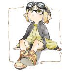 1girl :o black_shorts blonde_hair domino_mask full_body goggles goggles_on_head inkling long_sleeves looking_up mask nishikuromori open_mouth pointy_ears shoes short_hair shorts sitting sneakers solo splatoon_(series) splatoon_2 tentacle_hair yellow_eyes