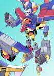 absurdres clenched_hands gattai genki_bakuhatsu_ganbaruger gradient gradient_background great_gambaruger highres kaneko_naoya mecha mechanical_parts no_humans super_robot wings