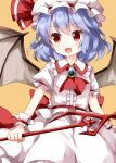 1girl ascot bangs bat_wings center_frills closed_mouth collared_shirt eyebrows_visible_through_hair frills hat hat_ribbon highres holding holding_spear holding_weapon jewelry looking_to_the_side medium_hair mob_cap open_mouth polearm purple_hair red_eyes red_neckwear red_ribbon remilia_scarlet ribbon ruu_(tksymkw) shirt short_sleeves simple_background skirt smile solo spear spear_the_gungnir standing touhou weapon white_headwear white_shirt white_skirt wings wrist_cuffs yellow_background