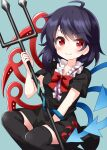 1girl asymmetrical_wings bangs black_hair black_legwear black_shirt black_skirt blue_background blue_wings bow bowtie center_frills closed_mouth eyebrows_visible_through_hair frills highres houjuu_nue looking_at_viewer medium_hair polearm red_bow red_eyes red_neckwear red_wings ruu_(tksymkw) shirt short_sleeves simple_background skirt smile snake solo touhou trident v-shaped_eyebrows weapon wings