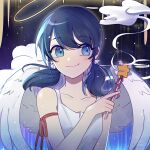 1girl angel_wings arm_ribbon bangs bare_arms black_hair blue_eyes blush eyebrows_visible_through_hair halo killua_gon low_twintails marinette_dupain-cheng miraculous_ladybug ribbon sky sleeveless smile solo star_(sky) star_(symbol) starry_sky twintails wand wings