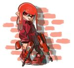 1girl closed_mouth domino_mask dual_squelcher_(splatoon) full_body holding inkling jewelry long_hair long_sleeves mask nishikuromori pigeon-toed pointy_ears red_eyes red_footwear redhead shoes single_earring single_vertical_stripe smile sneakers solo splatoon_(series) splatoon_2 standing tentacle_hair tongue tongue_out