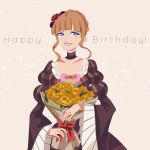 1girl beatrice_(umineko) blonde_hair bouquet bow braid braided_bun collarbone crying crying_with_eyes_open dress flower frilled_dress frills gativ0 hair_flower hair_ornament happy_birthday highres juliet_sleeves long_sleeves puffy_sleeves rose solo tears umineko_no_naku_koro_ni yellow_flower yellow_rose