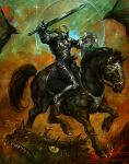arm_up armor blonde_hair boots bridle dated detroit_metal_city dragon grey_skin halil_ural holding holding_shield holding_sword holding_weapon horse horseback_riding johannes_krauser_ii knight molten_rock moon outdoors plate_armor red_eyes riding saddle shield signature stirrups sword weapon