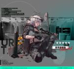 1girl artist_request assault_rifle black_gloves blood blood_on_face boots breasts camouflage camouflage_jacket camouflage_pants character_name choker commentary copyright_name damaged english_text eyebrows_visible_through_hair eyewear_on_head fingerless_gloves girls_frontline gloves gun hair_between_eyes holding holding_weapon jacket looking_at_viewer medium_hair official_art pants rifle silver_hair sitting_on_floor sl8_(girls_frontline) solo violet_eyes weapon