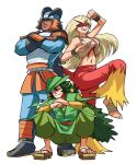 1girl 2boys armor bandaged_feet bandages bare_arms bare_shoulders barefoot behind_another blaziken blonde_hair blue_eyes bracer closed_mouth commentary cropped_shirt dark_skin dark_skinned_male english_commentary eye_mask floating_hair full_body gen_3_pokemon geta green_eyes grin half-closed_eyes helmet highres knee_up long_hair looking_at_viewer mask midriff mouth_hold multiple_boys navel orange_eyes pants personification pokemon pokemon_(game) pokemon_rse pose sceptile serious shirt shoulder_armor simple_background sleeveless sleeveless_shirt smile squatting standing stomach swampert tail tina_fate toes very_long_hair vest white_background wristband
