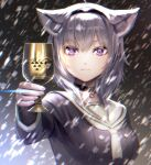+_+ 1girl animal_ears arm_up black_choker black_serafuku blizzard breasts cat_ears chalice choker commentary_request cup expressionless eyebrows_visible_through_hair fingernails giving glint hair_between_eyes hairband highres holding holding_cup hololive jewelry light_frown long_sleeves looking_at_viewer medium_breasts nekomata_okayu noname_(metaldragonfly) outstretched_arm pendant ring sailor_collar school_uniform serafuku short_hair silver_hair slit_pupils snowing solo standing upper_body violet_eyes virtual_youtuber white_neckwear white_sailor_collar