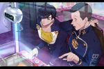 2boys anchor_symbol arcade arrow_(symbol) bandage_on_face bandages black_hair briefcase brooch buttons checkered checkered_floor collarbone commentary_request copyright_name crane_game diamond_wa_kudakenai dollar_sign earrings gakuran heart higashikata_jousuke holding holding_briefcase indoors jewelry jojo_no_kimyou_na_bouken long_sleeves looking_at_another male_focus multiple_boys nijimura_okuyasu open_mouth parted_lips peace_symbol playing_games pointing pompadour sato_minato school_briefcase school_uniform shirt short_hair standing stuffed_toy yellow_shirt