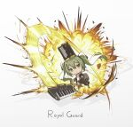 1girl bangs black_bow black_skirt bow chibi closed_mouth collared_shirt drum explosion green_eyes green_hair grey_background hair_between_eyes hatsune_miku highres holding holding_instrument instrument kieed long_hair long_sleeves shirt skirt sleeves_past_wrists solo twintails v-shaped_eyebrows very_long_hair vocaloid white_shirt