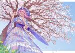 1girl :d blue_kimono blurry breasts cherry_blossoms dandelion day depth_of_field feet_out_of_frame floral_print flower from_below grass hat japanese_clothes kimono looking_ahead medium_breasts medium_hair mob_cap open_mouth outdoors pink_eyes pink_hair saigyouji_yuyuko smile solo teruteru_(teru_teru) touhou tree wide_sleeves yellow_flower