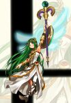 1girl aqua_eyes arm_up armlet bangle bangs belt belt_buckle bracelet bracer brown_belt brown_footwear buckle closed_mouth dress eyebrows_visible_through_hair full_body goddess green_hair high_heels highres holding holding_staff jewelry kid_icarus long_hair looking_up necklace nishikuromori palutena parted_bangs shield side_slit single_thighhigh smash_ball smile solo staff strapless strapless_dress super_smash_bros. thigh-highs very_long_hair white_dress white_legwear zoom_layer