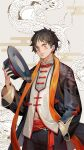 1boy black_hair black_headwear chinese_clothes cowboy_shot dragon dywx_poison eastern_dragon hand_in_pocket hat headwear_removed holding holding_clothes holding_hat male_focus monkey_d_luffy one_piece orange_scarf scar scarf solo