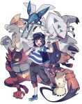 1boy :d backpack bag bangs baseball_cap black_hair black_headwear blush bracelet capri_pants commentary_request elio_(pokemon) gen_7_pokemon golisopod grey_eyes hat highres holding holding_poke_ball holding_strap incineroar jewelry kommo-o looking_at_viewer male_focus mimikyu mudsdale open_mouth oshi_taberu outline pants poke_ball poke_ball_(basic) pokemon pokemon_(creature) pokemon_(game) pokemon_sm shirt shoes short_sleeves smile striped striped_shirt tongue vikavolt white_background