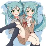2girls animal_ear_fluff animal_ears bang_dream! black_legwear black_skirt blazer blue_background blush brown_dress brown_neckwear collared_shirt commentary_request diagonal-striped_neckwear diagonal_stripes dress fang flying_sweatdrops green_eyes green_hair grey_jacket hikawa_hina hikawa_sayo jacket kemonomimi_mode kneehighs long_hair looking_at_viewer multiple_girls necktie open_blazer open_clothes open_jacket open_mouth pleated_dress sailor_collar sailor_dress shirt siblings sisters skirt sonosakiburi sparkle striped striped_neckwear tail twins two-tone_background white_background white_sailor_collar white_shirt