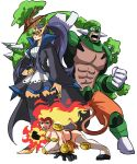 1boy 2girls abs all_fours arm_at_side armor bare_arms bare_pecs black_hair blue_eyes breasts closed_mouth coat collarbone collared_coat commentary dark_skin dark_skinned_male dress empoleon english_commentary eye_mask fiery_hair fire flaming_hand full_body gen_4_pokemon gloves green_hair hair_bun half-closed_eyes hand_on_hip height_difference high_collar high_heels high_ponytail highres holding holding_shield infernape knee_pads long_hair long_sleeves looking_at_viewer mask monkey_tail multiple_girls muscle open_clothes open_coat open_mouth overgrown pants pectorals pelvic_curtain personification plant pokemon pokemon_(game) pokemon_dppt shield shoes short_dress short_hair shoulder_armor simple_background spikes standing stomach superhero tail thigh-highs tina_fate torterra v-shaped_eyebrows very_long_hair white_background wide_sleeves yellow_eyes zettai_ryouiki