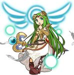 1girl aqua_eyes armlet bangs belt belt_buckle bracer brown_belt brown_footwear buckle circlet dress feathers full_body goddess green_hair high_heels highres holding holding_staff jewelry kid_icarus leg_up long_hair necklace nishikuromori palutena parted_bangs side_slit simple_background single_thighhigh solo staff strapless strapless_dress thigh-highs very_long_hair white_background white_dress white_legwear