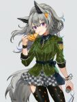 1girl animal_ears arknights bangs blue_shirt can checkered checkered_skirt clothing_cutout cowboy_shot eating food grani_(arknights) grani_(miraculous_moment)_(arknights) green_shirt grey_background hair_ornament hairclip highres holding holding_can holding_food holding_pizza horse_ears horse_tail leggings long_hair long_sleeves looking_at_viewer miniskirt necktie official_alternate_costume pizza pizza_slice ponytail shirt silver_hair simple_background skirt solo spacelongcat standing striped striped_shirt tail thigh_cutout vertical-striped_shirt vertical_stripes violet_eyes yellow_neckwear