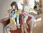 2girls 3boys absurdres black_hair blonde_hair blush closed_eyes couch frown gamagoori_ira green_hair hat high_collar highres inumuta_houka jakuzure_nonon junketsu kill_la_kill kiryuuin_satsuki long_hair long_sleeves multiple_boys multiple_girls pink_hair potomithu sanageyama_uzu shako_cap short_hair short_sleeves side-by-side sitting skull smile thigh-highs