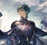 1boy armor blue_eyes bomssp byleth_(fire_emblem) byleth_(fire_emblem)_(male) fire_emblem fire_emblem:_three_houses garreg_mach_monastery_uniform green_hair highres looking_up male_focus pauldrons shoulder_armor solo upper_body