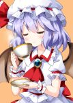 1girl ascot bangs bat_wings closed_eyes closed_mouth collared_shirt cup eyebrows_visible_through_hair hat hat_ribbon highres holding holding_cup holding_saucer jewelry medium_hair mob_cap orange_background purple_hair red_neckwear red_ribbon remilia_scarlet ribbon ruu_(tksymkw) saucer shirt short_sleeves simple_background skirt smile smoke solo touhou upper_body white_headwear white_shirt white_skirt wings wrist_cuffs