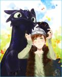 1boy blush brown_hair dragon fur_trim green_eyes helmet hiccup_horrendous_haddock_iii horned_helmet how_to_train_your_dragon male_focus musical_note siruphial toothless viking
