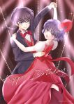 1boy 1girl black_hair braid braided_ponytail brown_eyes commentary_request couple dancing dress grey_eyes happy_birthday hetero high_heels highres long_hair nabeko_(be_yan3) purple_hair ranma_1/2 red_dress red_footwear red_neckwear red_vest saotome_ranma short_hair smile standing standing_on_one_leg tendou_akane tuxedo vest