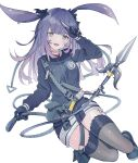 1girl animal_ears arknights belt belt_pouch black_eyes black_footwear black_gloves black_jacket black_legwear blush breasts commentary eyebrows_visible_through_hair full_body gloves hair_ribbon highres holding holding_knife jacket knife long_hair long_sleeves looking_at_viewer medium_breasts open_mouth pouch purple_hair rabbit_ears ribbon rope rope_(arknights) seia_(tikxxx) shoes simple_background smile solo strap thigh-highs thighs weapon white_background zettai_ryouiki