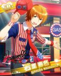 cap character_name gasoline idolmaster idolmaster_side-m orange_hair shirt short_hair smile wakazato_haruna yellow_eyes