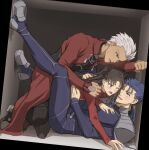 2boys archer black_bodysuit black_footwear black_pants black_ribbon blue_bodysuit blue_hair blush bodysuit brown_hair brown_legwear commentary_request cu_chulainn_(fate)_(all) dark_skin dark_skinned_male earrings fang fate/stay_night fate_(series) grey_hair hair_ribbon hand_on_another's_chest highres jewelry kneeling lancer legs_up long_hair looking_at_another lying mondi_hl multiple_boys on_back one_eye_closed pants ponytail red_eyes red_sweater ribbon sandwiched shoes short_hair smile spiky_hair sweatdrop sweater tohsaka_rin