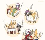 android apron bath bathtub bed chef_hat food hat mochimochi_(xseynao) nopon overalls pajamas poppi_(xenoblade) purple_hair shower_cap sleeping soap_bubbles spatula tora_(xenoblade_2) xenoblade_chronicles_(series) xenoblade_chronicles_2