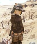 1girl :/ absurdres animal_ears barbed_wire battlefield blonde_hair blurry brown_eyes cat_ears cat_tail desert faux_traditional_media freckles goggles goggles_on_head goggles_on_headwear head_tilt helmet highres kabuyama_kaigi looking_to_the_side military military_uniform short_hair sketch sky smoke solo striker_unit tail uniform world_witches_series