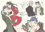 1girl 2boys anger_vein animal_ears archer big_bad_wolf big_bad_wolf_(cosplay) black_collar black_hair black_jacket blue_hair blush breasts coat collar commentary_request cosplay cu_chulainn_(fate)_(all) dog_collar earrings eye_contact fang fate/stay_night fate_(series) from_side green_coat grey_hair hair_ribbon hand_up high_heels highres holding_another hood hood_down hooded_coat jacket jewelry lancer little_red_riding_hood_(grimm) little_red_riding_hood_(grimm)_(cosplay) long_hair looking_at_another mondi_hl multiple_boys multiple_views open_clothes open_jacket partially_unbuttoned ponytail profile red_eyes red_footwear red_skirt ribbon shoes short_hair skirt small_breasts speech_bubble tail tohsaka_rin translation_request wolf_ears wolf_tail