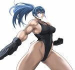 1girl bangs black_gloves black_leotard blue_eyes blue_hair breasts covered_nipples earrings gloves high_ponytail jewelry leona_heidern leotard lips muscle muscular_female ponytail ribbed_leotard shibusun signature solo sweatdrop the_king_of_fighters thick_thighs thighs toned triangle_earrings white_background