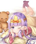 1girl 1other absurdres aurora_sya_lis_kaymin blanket feet_up foreshortening highres long_hair lying maou-jou_de_oyasumi on_stomach one_eye_closed pillow pink_footwear pink_shirt purple_hair rubbing_eyes shirt skirt sleepy socks stuffed_animal stuffed_toy teddy_bear teddy_demon violet_eyes white_skirt zeroillya