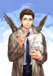 1boy blue_eyes brown_hair castiel facial_hair food halo hamburger looking_at_viewer male_focus necktie siruphial sky smile solo stubble supernatural_(tv_series) trench_coat wings