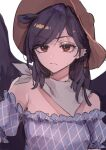 1girl animal_ears argyle_shirt bandana bare_shoulders black_hair black_wings breasts brown_eyes brown_headwear closed_mouth commentary_request cowboy_hat ear_piercing expressionless eyebrows_visible_through_hair eyes_visible_through_hair hat highres horse_ears kurokoma_saki looking_at_viewer medium_hair off-shoulder_shirt off_shoulder pegasus_wings piercing puffy_short_sleeves puffy_sleeves risui_(suzu_rks) shirt short_sleeves simple_background sketch small_breasts solo touhou upper_body white_background white_bandana wings