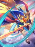 commentary_request fangs gen_8_pokemon highres kenko_(a143016) legendary_pokemon mouth_hold no_humans open_mouth pokemon pokemon_(creature) solo sword weapon yellow_eyes zacian