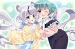 2girls :3 absurdly_long_hair animal_ears baudelair blue_eyes blue_hair bow braid curly_hair grey_hair hair_bow holding_hands jacket jacket_on_shoulders long_hair mouse_ears mouse_girl multicolored_hair multiple_girls nezuminemurin one_eye_closed oversized_clothes school_uniform shulliy shulliyllust streaked_hair twin_braids twintails very_long_hair violet_eyes virtual_youtuber