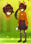 1girl :3 animal_ears animal_print argyle argyle_legwear bangs black_footwear black_skirt brown_hair bush cat_ears cat_girl cat_print cat_tail closed_mouth commentary day english_commentary eyebrows_visible_through_hair flower full_body furry grass green_background green_eyes green_outline happy highres kneehighs light_blush long_hair long_sleeves looking_at_viewer methynecros multicolored multicolored_clothes multicolored_legwear multiple_views orange_shirt original outdoors outline pleated_skirt red_flower shiny shiny_hair shirt shirt_tucked_in shoes side_ponytail skirt smile standing tail tied_hair tree