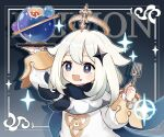 1girl absurdres artist_request background_text bangs character_name dress eyebrows_visible_through_hair food food_on_face fork genshin_impact hair_ornament halo highres holding holding_fork holding_plate long_sleeves medium_hair official_art paimon_(genshin_impact) plate scarf simple_background solo sparkle upper_body white_dress white_hair