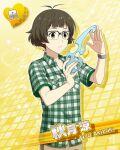 akizuki_ryou brown_eyes brown_hair character_name idolmaster idolmaster_side-m shirt short_hair smile